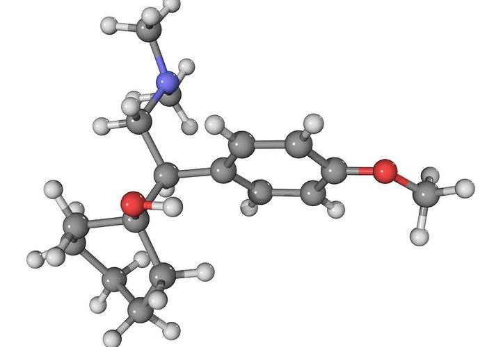Molecular Greeting Card featuring the photograph Effexor Antidepressant Drug Molecule by Laguna Design