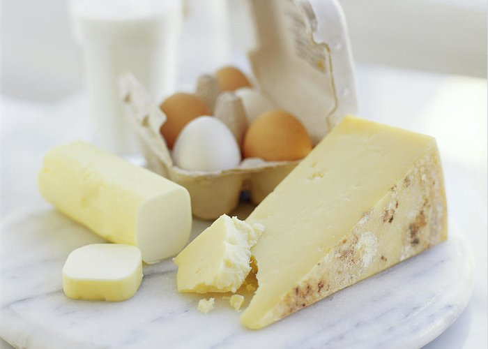 Balanced Diet Greeting Card featuring the photograph Eggs And Cheese by David Munns