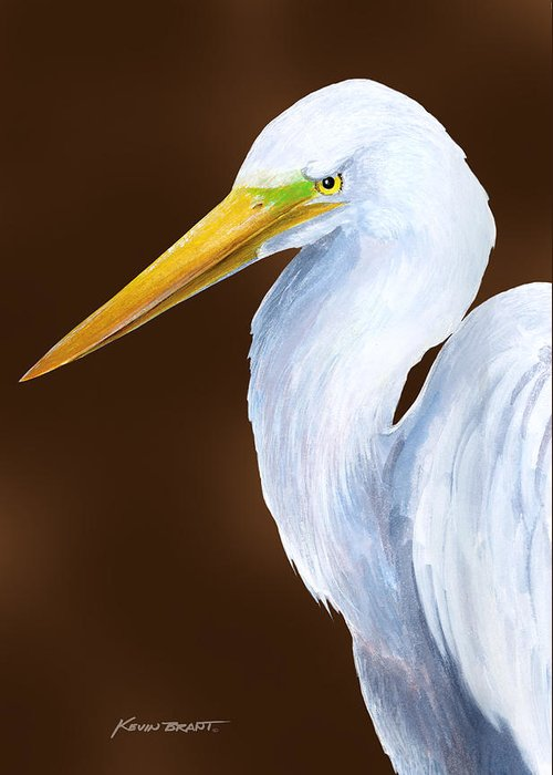 Egret Greeting Card featuring the painting Egret Head Study by Kevin Brant