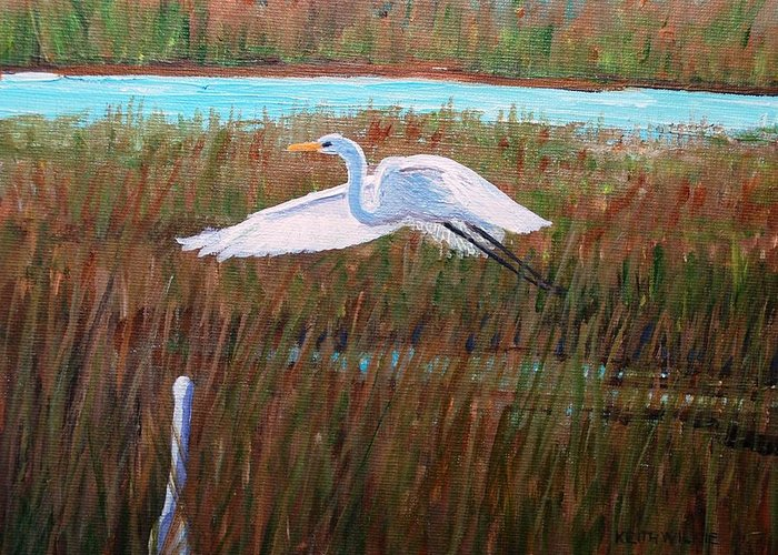 Egret Greeting Card featuring the painting Egret Watching by Keith Wilkie