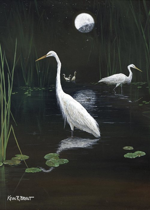 Egret Greeting Card featuring the painting Egrets In The Moonlight by Kevin Brant