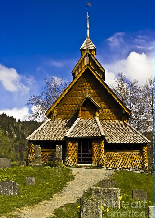 Architecture Greeting Card featuring the photograph Eidsborg Stave Church by Heiko Koehrer-Wagner