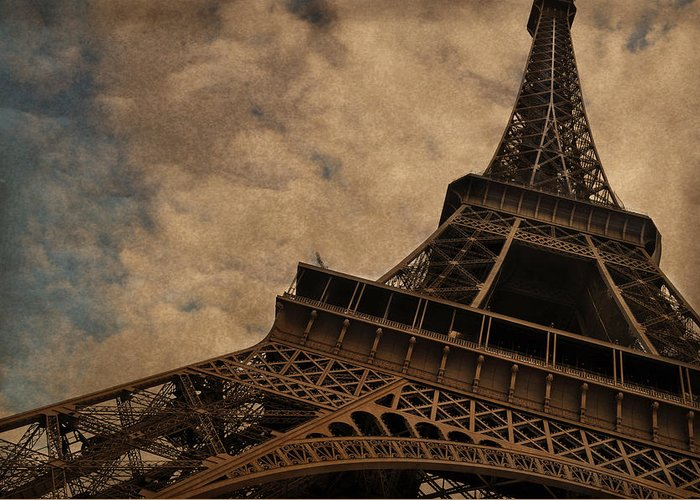 The Eiffel Tower Paris Greeting Card featuring the photograph Eiffel Tower 2 by Mary Machare
