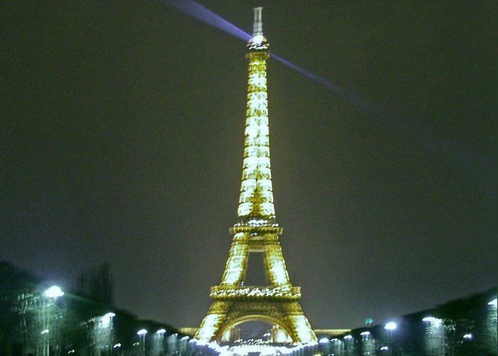 Paris Greeting Card featuring the photograph Eiffel Tower At Night by Ellen Holmes