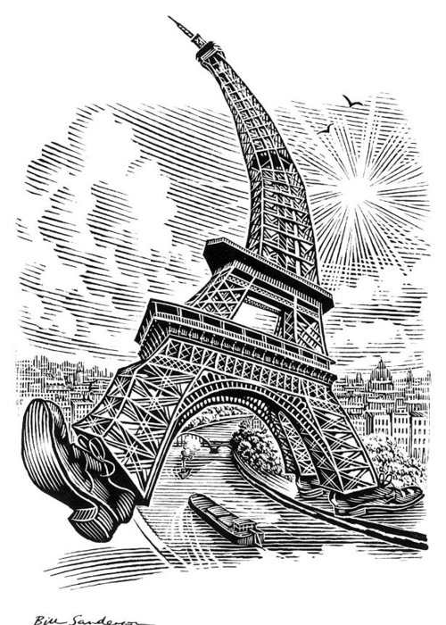 Eiffel Tower Greeting Card featuring the photograph Eiffel Tower, Conceptual Artwork by Bill Sanderson