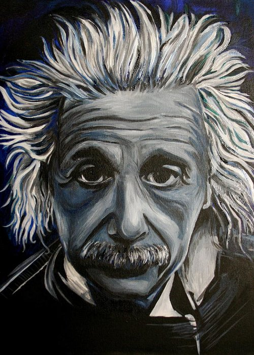 Einstein Greeting Card featuring the painting Einstein by Kate Fortin