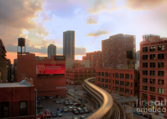 Chicago Greeting Card featuring the photograph El Landscape by Archana Doddi