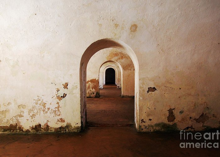 Travelpixpro Puerto Rico Greeting Card featuring the photograph El Morro Fort Barracks Arched Doorways San Juan Puerto Rico Prints by Shawn O'Brien