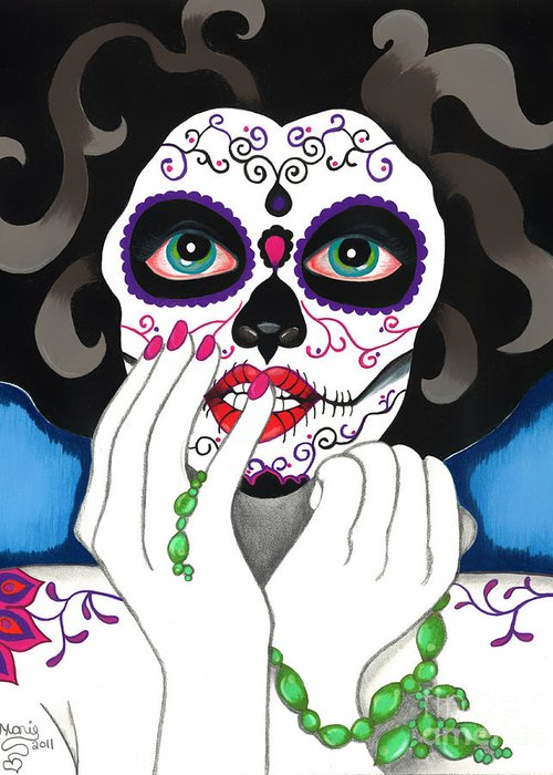 Day Of The Dead Greeting Card featuring the drawing El Rosario Sagrado by B Marie