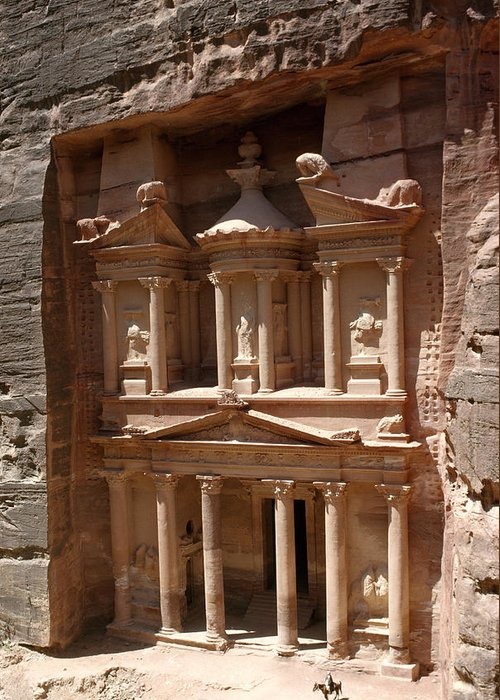 Outdoors Greeting Card featuring the photograph Elaborate Sandstone Temple Or Tomb by Luis Marden