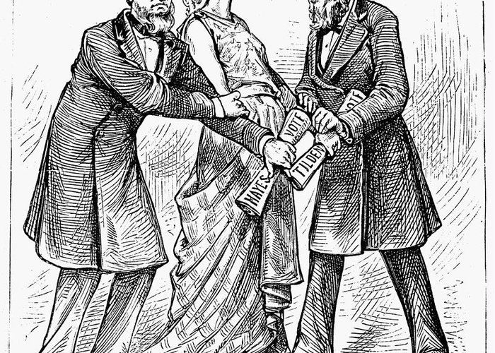 1876 Greeting Card featuring the photograph Election Cartoon, 1876 by Granger
