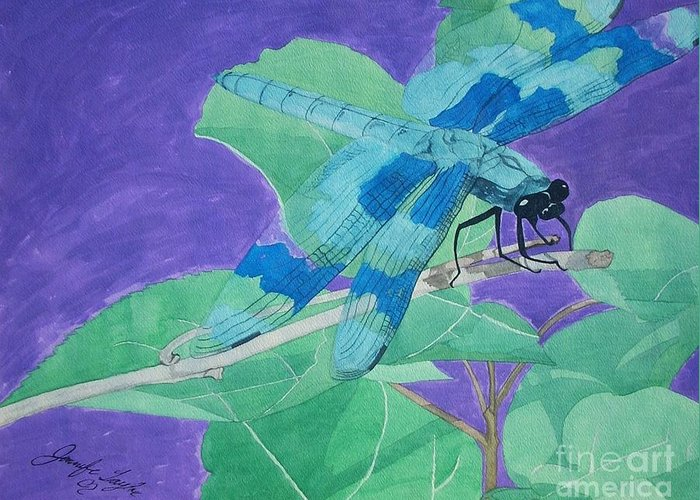 Dragonfly Greeting Card featuring the painting Electric Dragon by Jennifer Taylor Rogerson