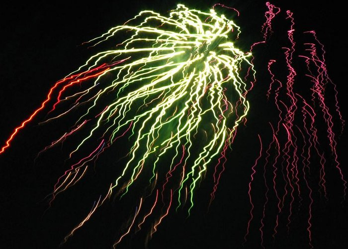 Fireworks Greeting Card featuring the photograph Electric Jellyfish by Rhonda Barrett