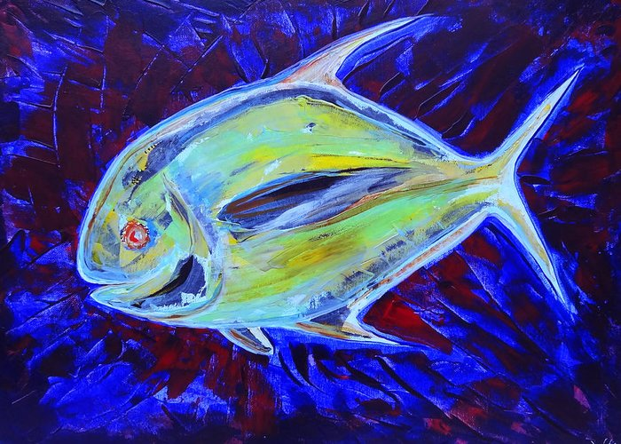 Art Greeting Card featuring the painting Electric Pompano by Jeremy Smith