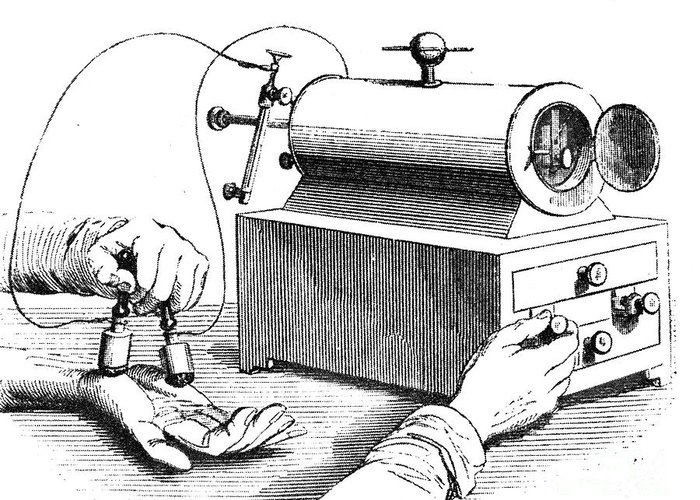 1876 Greeting Card featuring the photograph Electrical Device, 1876 by Granger