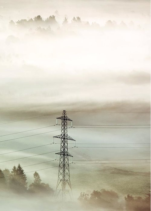 Pylon Greeting Card featuring the photograph Electricity Pylon In Fog by Duncan Shaw