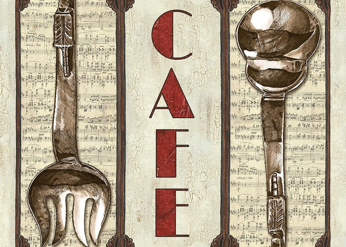 Cafe Greeting Card featuring the painting Elegant Bistro 2 by Debbie DeWitt