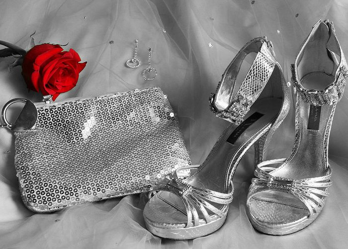 Rose Greeting Card featuring the photograph Elegant Night Out In Selective Color by Mark J Seefeldt