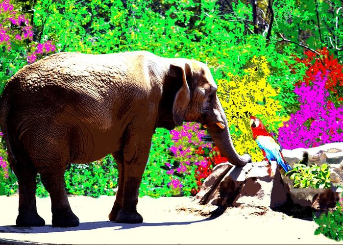 Elephant Greeting Card featuring the photograph Elephant-parrot Dialogue by Romy Galicia