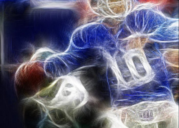 Eli Manning Greeting Card featuring the digital art Eli Manning Ny Giants by Paul Ward