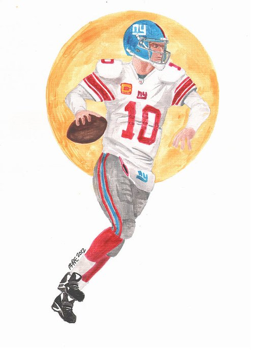 Nfl Greeting Card featuring the painting Eli Manning Superbowl Xlvi Mvp by Paul McRae