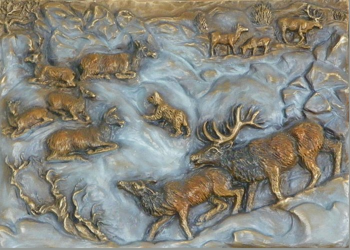 Wildlife Greeting Card featuring the sculpture Elk And Bobcat In Winter by Dawn Senior-Trask