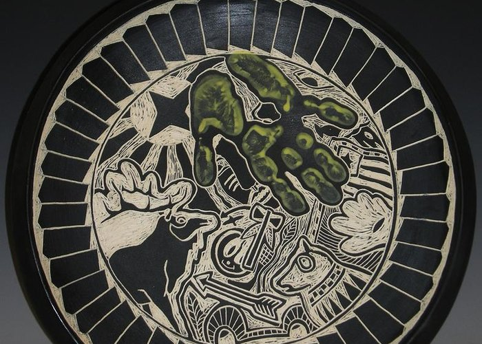 18 Diameter Platter Greeting Card featuring the ceramic art Elk And Hand by Ken McCollum