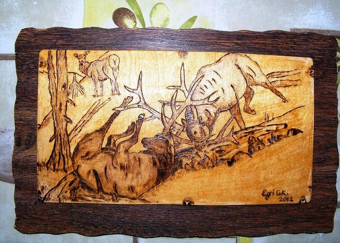 Elk Fightings-wood Pyrography Greeting Card