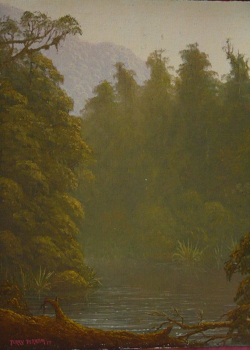 Landscape Greeting Card featuring the painting Ellery River 1977 by Terry Perham