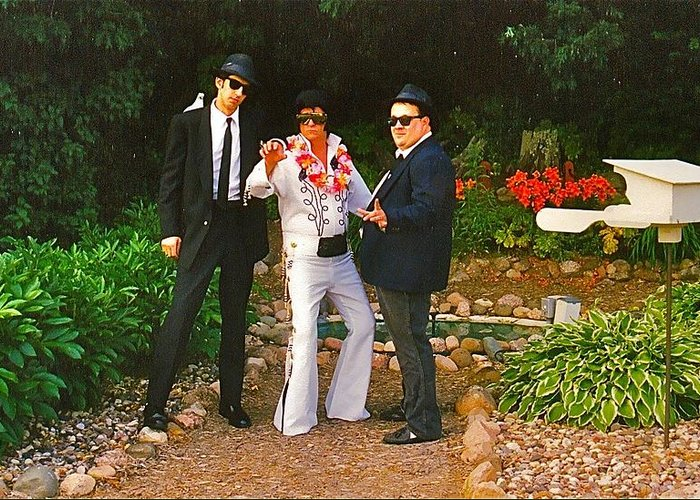 Blues Brothers Greeting Card featuring the photograph Elvis And The Blues by Randy Rosenberger