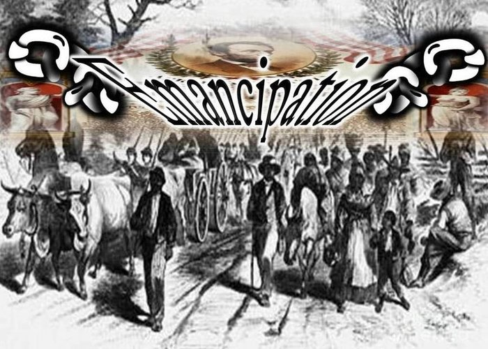 Black History Greeting Card featuring the digital art Emancipation by Belinda Threeths