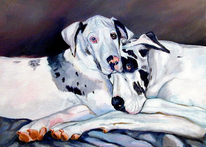Great Dane Greeting Card featuring the painting Embrace by Lyn Cook