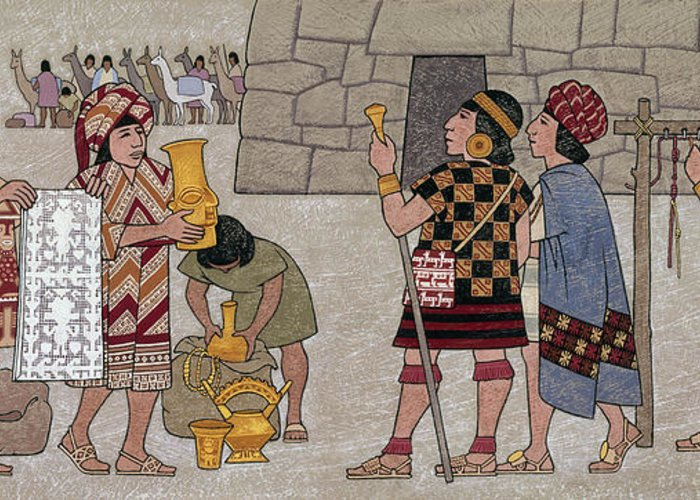 Illustration Greeting Card featuring the photograph Emissaries Bring Tribute To Inca by Ned M. Seidler