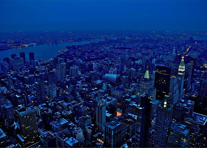 New York Landscape Greeting Card featuring the photograph Empire State Of Mind Cold by Brian Cruz