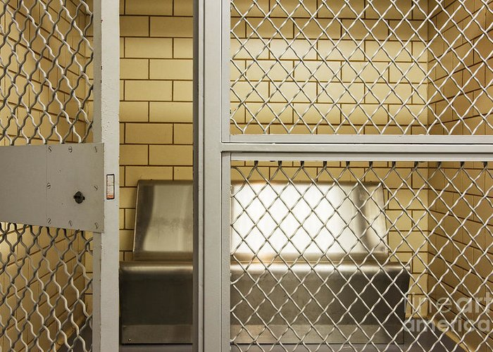 Architecture Greeting Card featuring the photograph Empty Jail Holding Cell by Jeremy Woodhouse