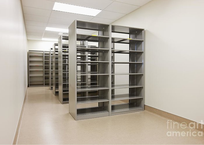 Architecture Greeting Card featuring the photograph Empty Metal Shelves by Jetta Productions, Inc