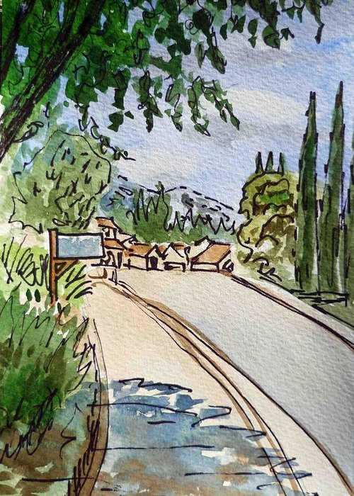 Sketch Greeting Card featuring the painting Empty Road Sketchbook Project Down My Street by Irina Sztukowski