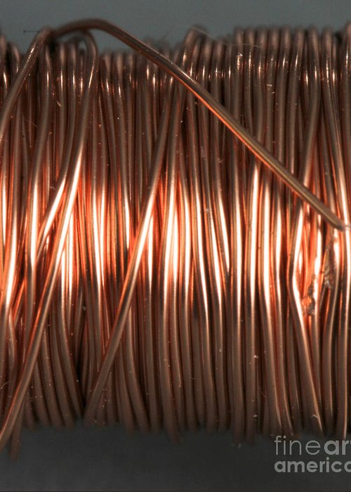 Coil Greeting Card featuring the photograph Enamel Coated Copper Wire by Photo Researchers