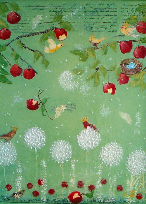 Enchanted Garden Featuring Birds Greeting Card featuring the painting Enchanted Garden by Jo Roffe