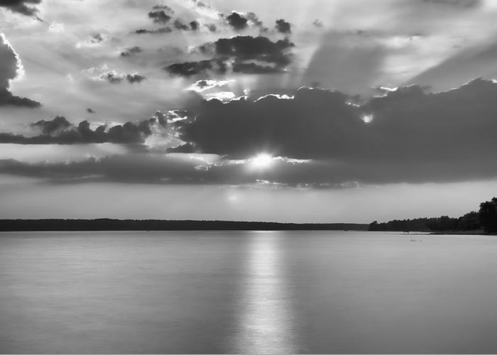 Sunset Sun Clouds B&w black And White Lac Lake sunset Over Lake b&w Sunset Aylmer lac Desch�nes Deschenes Desch�nes Greeting Card featuring the photograph End Of Day by Eunice Gibb