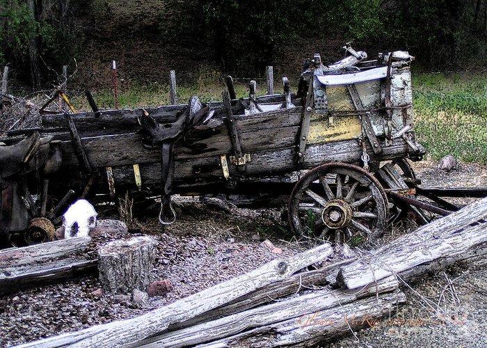 American Vintage Greeting Card featuring the digital art End Of The Trail Oregon Conestoga Wagon by Glenna McRae