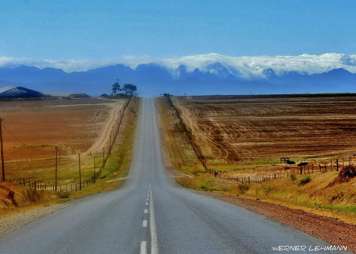Landscape; Endless; Country; Road; South Africa; Swartland; Montains; Ceres; Blue; Sky; Clouds; Sunlight; Brown; Field; Rural; Decorative; Tar; Lines; Quiet; Straight; Horizon; Background; Greeting Card featuring the photograph Endless Country Road by Werner Lehmann