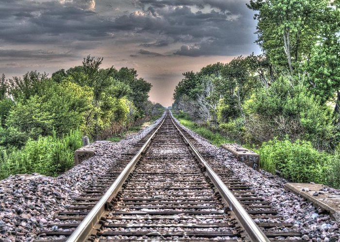 Traintracks Greeting Card featuring the photograph Endless Tracks by Thomas Klyn