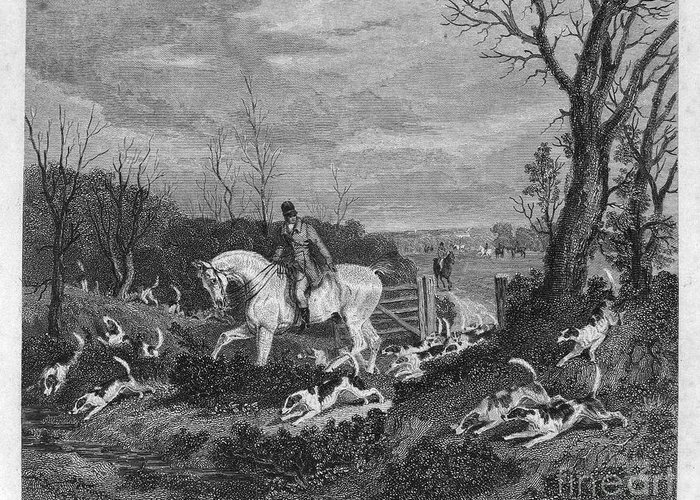 1833 Greeting Card featuring the photograph England: Fox Hunt, 1833 by Granger