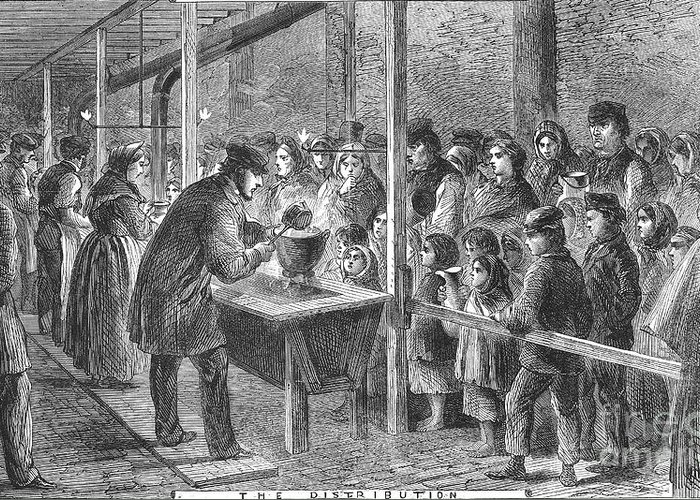 1862 Greeting Card featuring the photograph England: Soup Kitchen, 1862 by Granger