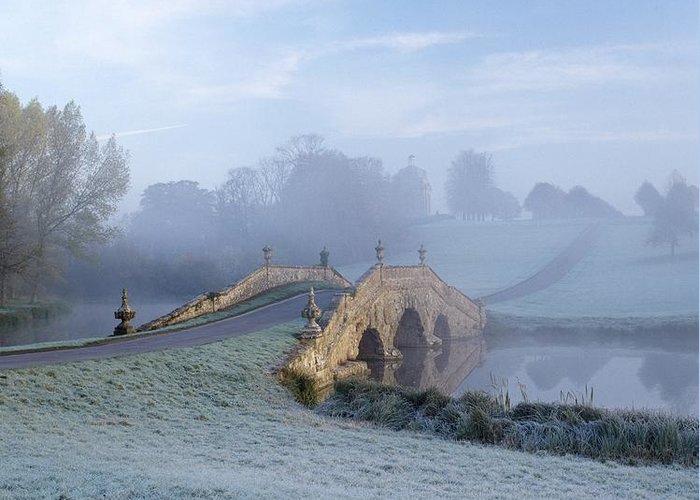 Bridge Greeting Card featuring the photograph English Fog by Zarija Pavikevik