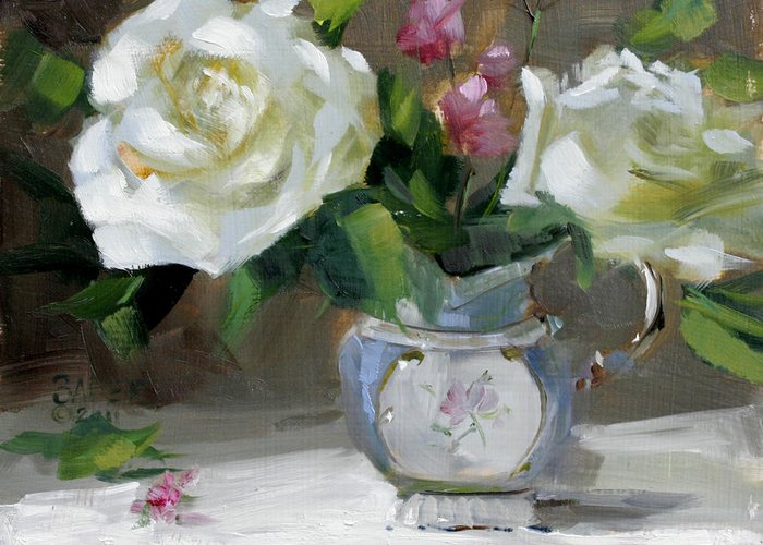 Original Oil Painting Greeting Card featuring the painting English Tea Rose by Chris Saper