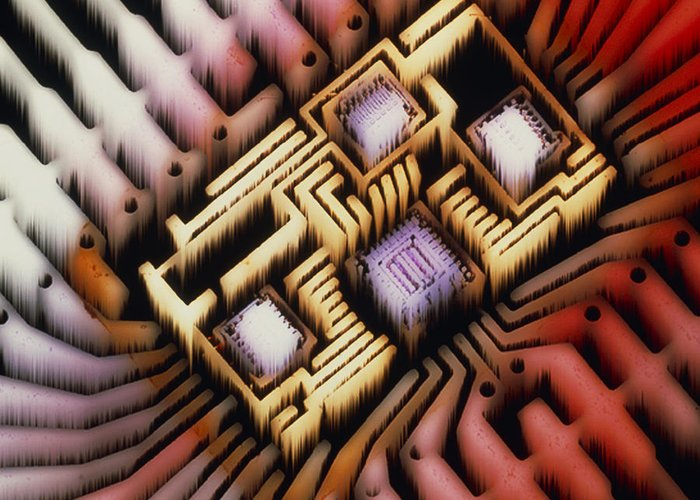 Hybrid Circuit Greeting Card featuring the photograph Enhanced Macrophoto Of A Hybrid Integrated Circuit by Pasieka