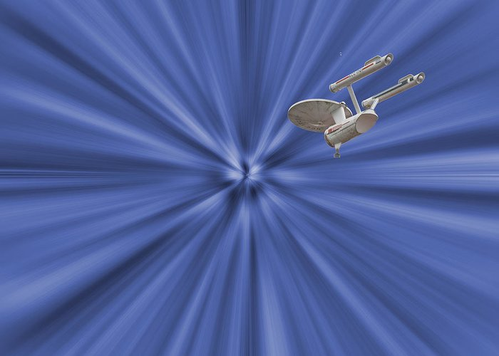 Enterprise Greeting Card featuring the photograph Entering Warp Speed by Peggie Strachan