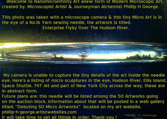 Nanomicroinfinity Art Greeting Card featuring the painting Enterprise Flyby Over The Hudson River by Phillip H George